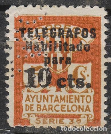 BARCELONA TELEGRAFOS Nº 4, NUEVO SIN GOMA (PERFORADO E M C) (Sellos - España - Telégrafos)