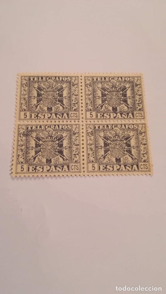 BLOQUE DE 4 SELLOS DE TELEGRAFOS DE ESPAÑA NUEVOS CON GOMA (Sellos - España - Telégrafos)
