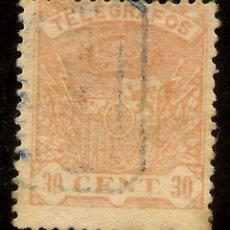Sellos: ESPAÑA TELÉFRAFOS EDIFIL 58 (º) 30 CÉNTIMOS NARANJA ESCUDO ESPAÑA 1921 NL797. Lote 141756302