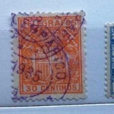 Sellos: ESPAÑA, 1931-1939, TRES SELLOS DE TELÉGRAFOS CON EL ESCUDO DE ESPAÑA . Lote 145543574