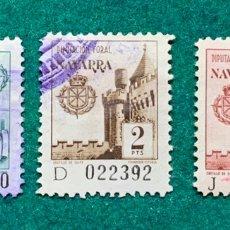 Sellos: 3 FISCALES DIPUTACIÓN FORAL DE NAVARRA. Lote 147542641