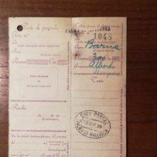 Timbres: GIRO POSTAL. PALMA MALLORCA 1939. Lote 151020770