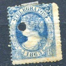 Francobolli: EDIFIL 10 DE TELÉGRAFOS. 4 REALES AÑO 1865, DENTADO. USADO CON TALADRO. Lote 152342634