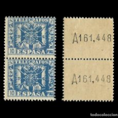 Sellos: SELLOS. ESPAÑA. TELÉGRAFOS. 1940-42. ESCUDO DE ESPAÑA. 5P AZUL. BLOQUE 2. NUEVO** .EDIFIL. Nº92. Lote 155378546