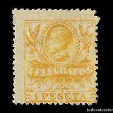 Sellos: SELLOS. ESPAÑA. TELÉGRAFOS. 1905.ALFONSO XIII. 1P AMAILLO. NUEVO* EDIFIL. Nº44. Lote 155380438