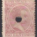 Sellos: ESPAÑA 1889 EDIFIL 224 T 224 TALADRO - 4/37. Lote 160436230