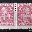 Sellos: TELÉGRAFOS, 72, DOS SELLOS NUEVOS, SIN CH.; EN PAREJA. ESCUDO.. Lote 160689626