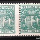 Sellos: TELÉGRAFOS, 73, DOS SELLOS NUEVOS, SIN CH.; EN PAREJA. ESCUDO.. Lote 160689922
