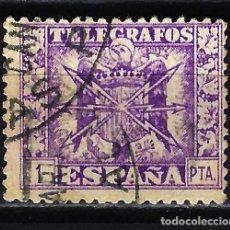 Francobolli: 1949 - ESPAÑA TELÉGRAFOS EDIFIL 90 USADO - ESCUDO DE ESPAÑA - 1 PTA.. Lote 166641606