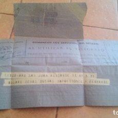 Sellos: TELEGRAMA 1943 - ALICANTE. Lote 169950908