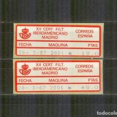 Sellos: ETIQUETA EPELSA ATM 8A/B CERTAMEN FIL. IBEROAMERICANO MADRID 1987 NUEVOS . Lote 172073203