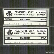 Sellos: ETIQUETA EPELSA ATM 18A/B EXPOFIL VIII PUERTO DE LA CRUZ 1989 NUEVO. Lote 172073623