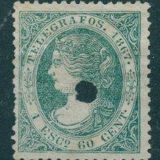 Sellos: TELÉGRAFOS - EDIFIL 19T (*) - ESPAÑA 1867 - ISABEL II. Lote 178327260