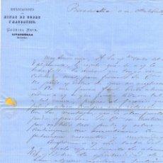 Sellos: CARTA CIRCULADA ESPLOTACIONES DE MINAS DE COBRE Y MANGANESO GABRIEL HEIM, RIVADESELLA. ASTURIAS 1869. Lote 178952425