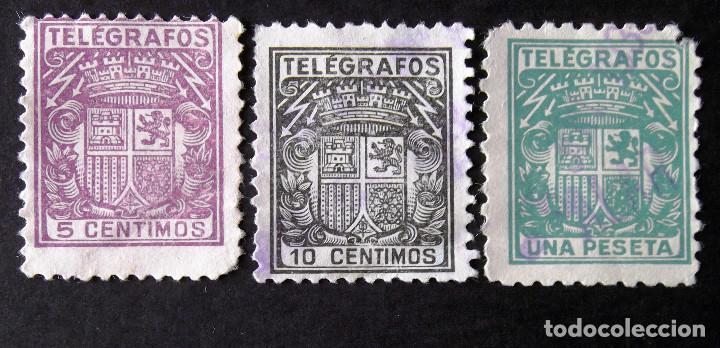 TELÉGRAFOS, TRES SELLOS USADOS: EDIFIL 68, 69 Y 73NA. (Sellos - España - Telégrafos)
