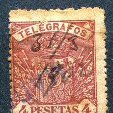 Sellos: EDIFIL 37 DE TELÉGRAFOS. 4 PTS AÑO 1901. USADO. COLOR DE ÓXIDO. Lote 186257196