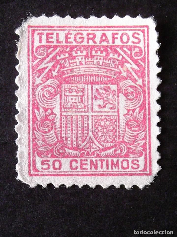 TELÉGRAFOS, EDIFIL 72, SELLO USADO, SIN MATASELLAR. ESCUDO. (Sellos - España - Telégrafos)
