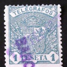 Sellos: TELÉGRAFOS, EDIFIL 60, USADO CON MATASELLO: BARCELONA. ESCUDO.. Lote 192865147