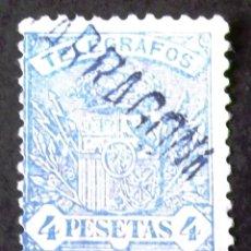 Sellos: TELÉGRAFOS, EDIFIL 61, USADO CON MATASELLO: TARRAGONA. ESCUDO.. Lote 192865222