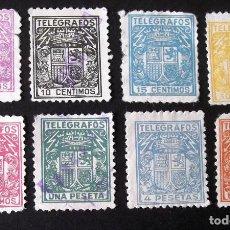 Sellos: TELÉGRAFOS, EDIFIL 68-75, SERIE USADA, EL Nº 68 CON DEFECTOS. ESCUDO.. Lote 192865292