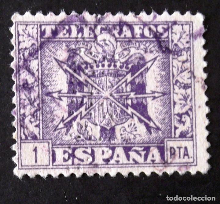 TELÉGRAFOS, EDIFIL 90, SELLO USADO PERFORADO. ESCUDO. (Sellos - España - Telégrafos)