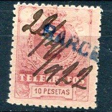 Sellos: EDIFIL 54 DE TELÉGRAFOS. 10 PTS AÑO 1912. USADO. . Lote 193003000