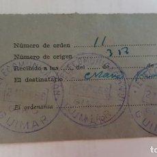 Sellos: RESGUARDO GIRO DE TELÉGRAFOS. GUÍMAR-TENERIFE. 21 DE DICIEMBRE DE 1956.. Lote 193846750