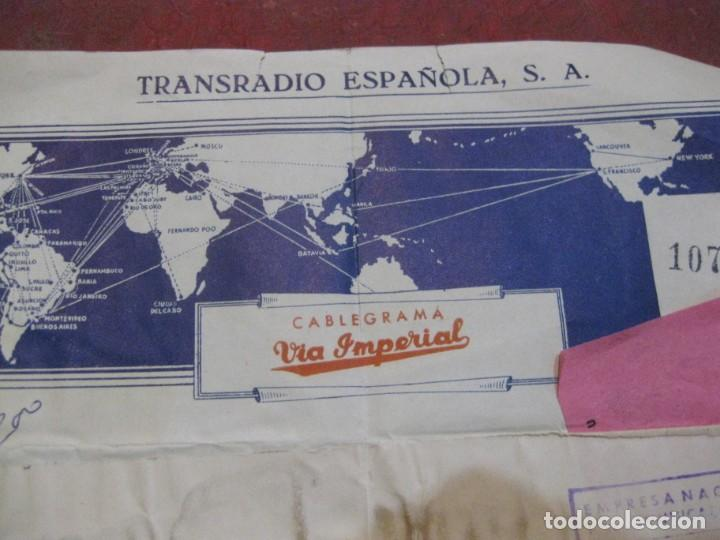 Sellos: cablegrama via imperial . transradio española sa 1963 telegrama - Foto 2 - 194690968
