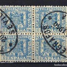 Sellos: 1940 ESPAÑA - TELÉGRAFOS 10 PESETAS - EDIFIL 84 - BLOQUE DE 4 - USADOS - MATASELLOS SEVILLA. Lote 199754335