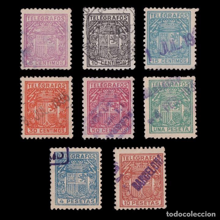 TELÉGRAFOS.1932/33 ESCUDO ESPAÑA.SERIE.USADO.EDIFIL. 68/75 (Sellos - España - Telégrafos)