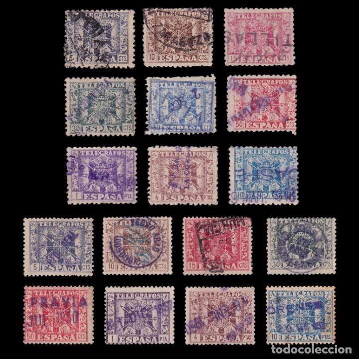 TELÉGRAFOS.1940-49.ESCUDO ESPAÑA.SERIE MATASELLO LEGIBLE.EDIFIL. 76-92. (Sellos - España - Telégrafos)