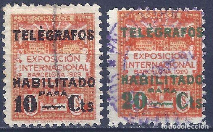 TELÉGRAFOS. BARCELONA 1930. HABILITACIÓN TIPO A. EDIFIL NÚMERO 1 Y 2. (Sellos - España - Telégrafos)