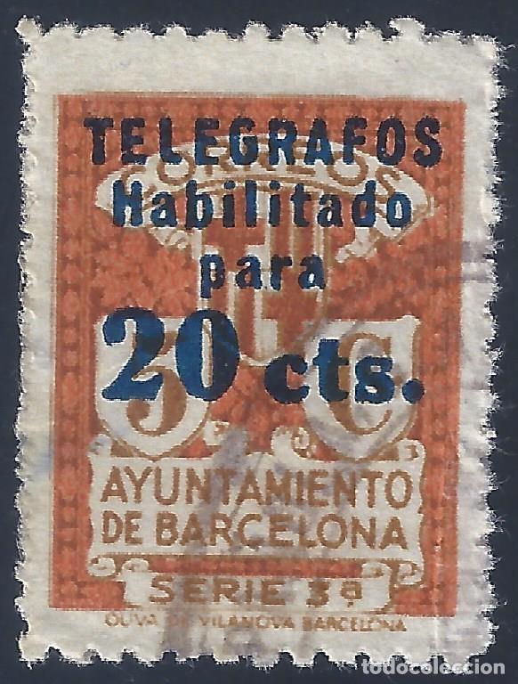 TELÉGRAFOS. BARCELONA 1934. HABILITACIÓN TIPO B. EDIFIL 5. VALOR CATÁLOGO: 6,20 €. (Sellos - España - Telégrafos)