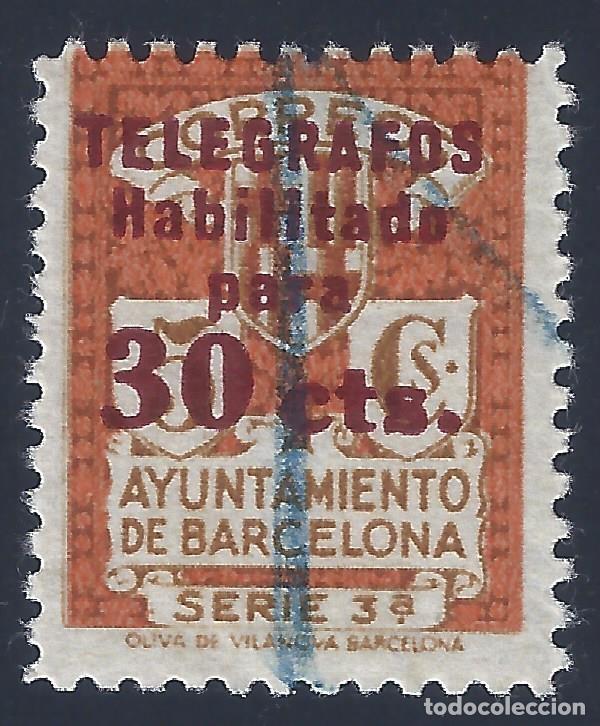TELÉGRAFOS. BARCELONA 1934. HABILITACIÓN TIPO B. EDIFIL 6. VALOR CATÁLOGO: 15 €. (Sellos - España - Telégrafos)