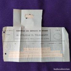 Sellos: ANTIGUO TELEGRAMA CON CENSURA MILITAR. TELEGRAFOS VIZCAYA. BILBAO. 1936-39. ORIGINAL CARTA - POSTAL.. Lote 203907152