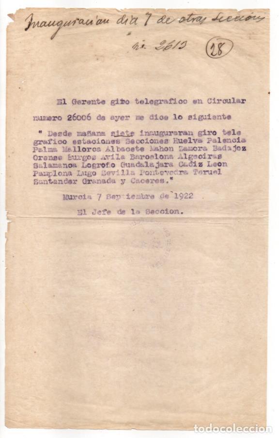 MURCIA,- INAGURACION GIRO TELEGRAFICO ESTACIONES...AÑO 1922.VER FOTOS (Sellos - España - Telégrafos)