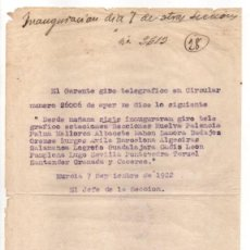 Francobolli: MURCIA,- INAGURACION GIRO TELEGRAFICO ESTACIONES...AÑO 1922.VER FOTOS. Lote 205187225