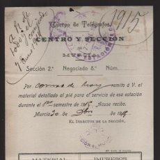 Sellos: MURCIA.- CUERPO DE TELEGRAFOS,-AL JEFE DE CIEZA- AÑO 1914.- VER FOTO. Lote 205187507