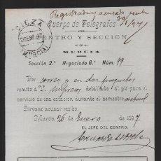 Sellos: MURCIA.- CUERPO DE TELEGRAFOS,-AL JEFE DE CIEZA- AÑO 1897.- VER FOTO. Lote 205188252