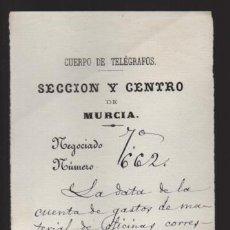 Sellos: MURCIA.- CUERPO DE TELEGRAFOS,-AL JEFE DE CIEZA- AÑO 1879.- VER FOTO. Lote 205188541