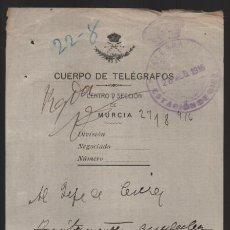 Sellos: MURCIA.- CUERPO DE TELEGRAFOS,-AL JEFE DE CIEZA- AÑO 1916.- VER FOTO. Lote 205190241
