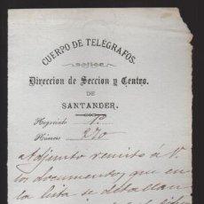 Sellos: SANTANDER.- CUERPO TELEGRAFOS,- AL JEFE DE CIEZA- AÑO 1885- VER FOTO. Lote 205190388