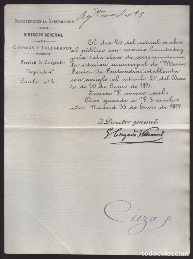 MADRID.- MINITERIO GOBERNACION- CORREOS Y TELEGRAFOS- CIRCULAR Nº 2.- AÑO 1877-VER FOTO (Sellos - España - Telégrafos)