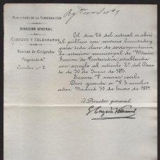 Sellos: MADRID.- MINITERIO GOBERNACION- CORREOS Y TELEGRAFOS- CIRCULAR Nº 2.- AÑO 1877-VER FOTO. Lote 205190740