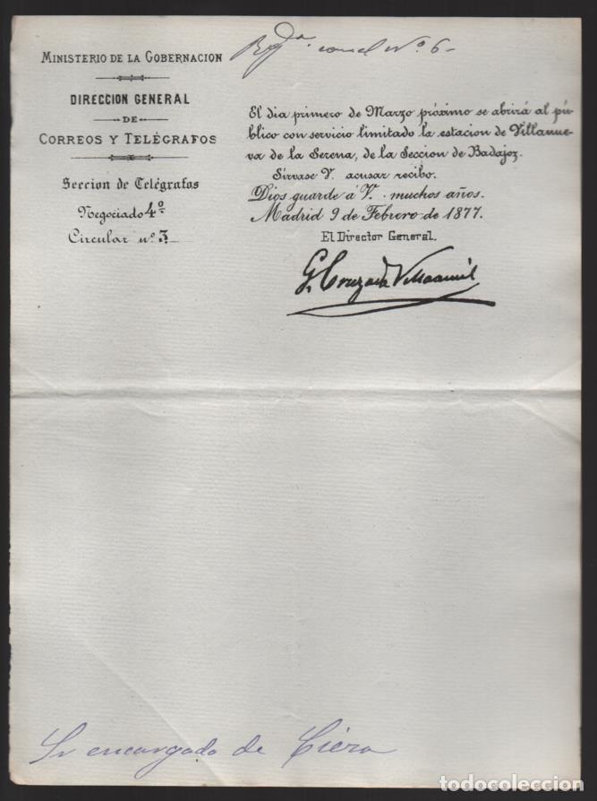 MADRID.- MINITERIO GOBERNACION- CORREOS Y TELEGRAFOS- CIRCULAR Nº 3.- AÑO 1877-VER FOTO (Sellos - España - Telégrafos)