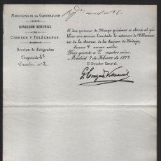 Sellos: MADRID.- MINITERIO GOBERNACION- CORREOS Y TELEGRAFOS- CIRCULAR Nº 3.- AÑO 1877-VER FOTO. Lote 205190815