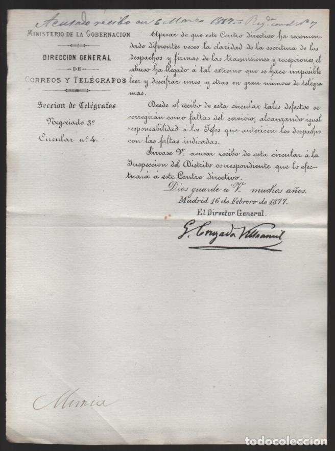 MADRID.- MINITERIO GOBERNACION- CORREOS Y TELEGRAFOS- CIRCULAR Nº 4.- AÑO 1877-VER FOTO (Sellos - España - Telégrafos)