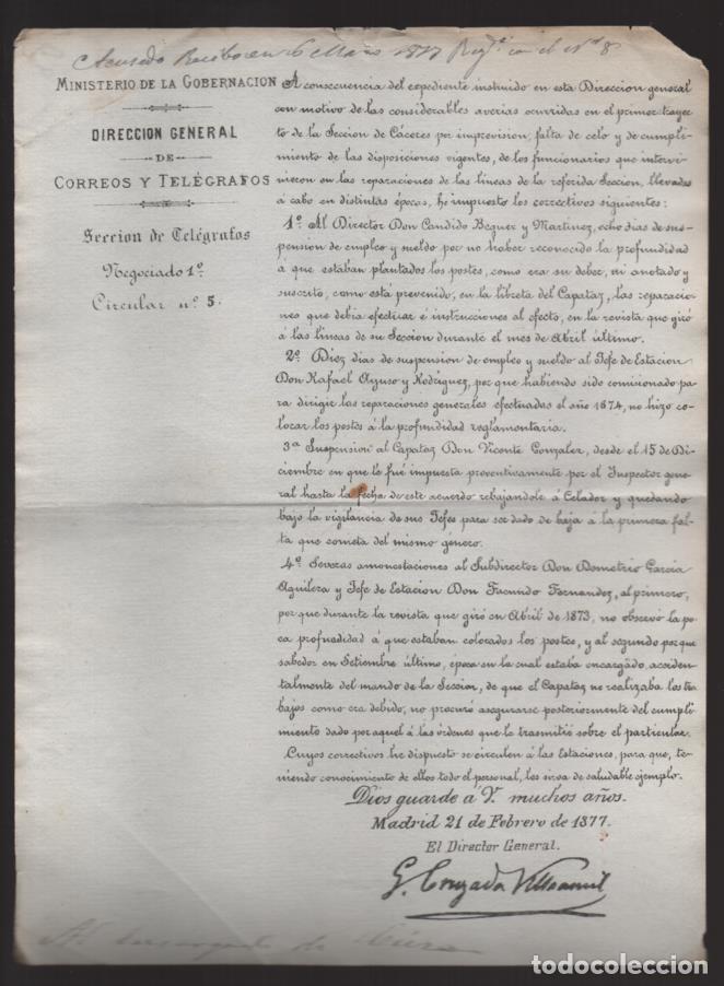 MADRID.- MINITERIO GOBERNACION- CORREOS Y TELEGRAFOS- CIRCULAR Nº 5.- AÑO 1877-VER FOTO (Sellos - España - Telégrafos)