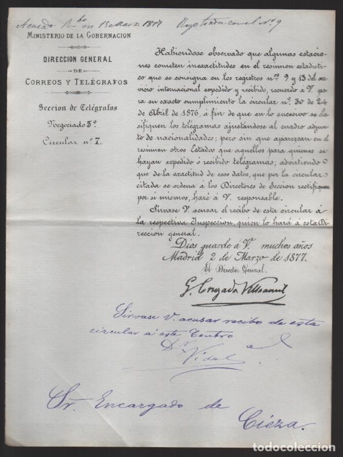 MADRID.- MINITERIO GOBERNACION- CORREOS Y TELEGRAFOS- CIRCULAR Nº 7.- AÑO 1877-VER FOTO (Sellos - España - Telégrafos)