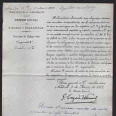 Sellos: MADRID.- MINITERIO GOBERNACION- CORREOS Y TELEGRAFOS- CIRCULAR Nº 7.- AÑO 1877-VER FOTO. Lote 205191590